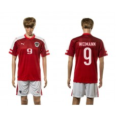 European Cup 2016 Austria home 9 Weimann red soccer jerseys