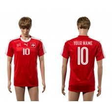 European Cup 2016 Switzerland home 10 customized red AAA+ soccer jerseys