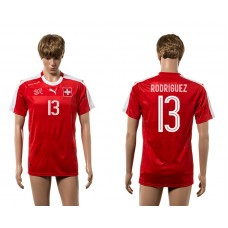 European Cup 2016 Switzerland home 13 Rodriguez red AAA+ soccer jerseys
