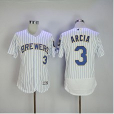 Men 2017 MLB Milwaukee Brewers 3 Orlando Arcia White Elite Jerseys