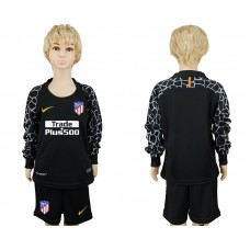 2017-2018 club Atletico Madrid goalkeeper black long sleeve kids soccer jerseys