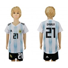 2018 World Cup Argentina home kids 21 white soccer jersey