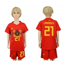 2018 World Cup Belgium home kids 21 red soccer jersey