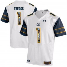 Men California Golden Bears 1 Bryce Treggs White Customized NCAA Jerseys