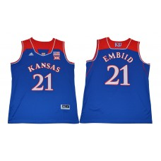 Men Kansas Jayhawks 21 Embiid Blue NCAA Jerseys