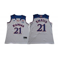 Men Kansas Jayhawks 21 Embiid White NCAA Jerseys