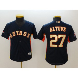 Youth Houston Astros 27 Altuve Blue Champion Edition MLB Jerseys
