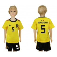 Youth 2018 World Cup Belgium away 5 yellow soccer jersey