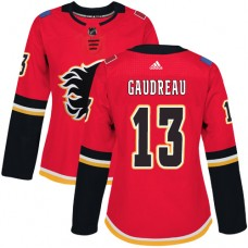Adidas Calgary Flames 13 Johnny Gaudreau Red Home Authentic Women Stitched NHL Jersey