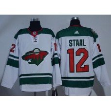 Adidas Men Minnesota Wild 12 Eric Staal White Road Authentic Stitched NHL Jersey