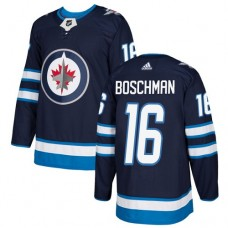 Adidas Men Winnipeg  Jets 16 Laurie Boschman Navy Blue Home Authentic Stitched NHL Jersey