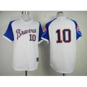 Men Atlanta Braves 10 Jones White Throwback 1974 MLB Jerseys