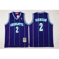 Men Charlotte Hornets 2 Larry Johnson Purple Throwback Stitched NBA Jersey