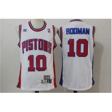 Men Detroit Pistons 10 Rodman White Throwback Stitched NBA Jersey