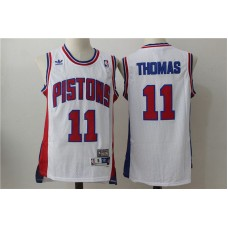 Men Detroit Pistons 11 Thomas White Throwback Stitched NBA Jersey