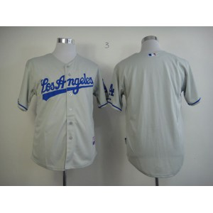 Men Los Angeles Dodgers Blank Grey MLB Jerseys1