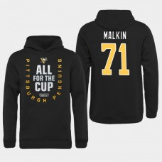 Men NHL Pittsburgh Penguins 71 Malkin black All for the Cup Hoodie