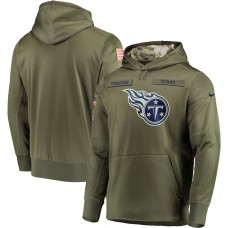 Men Tennessee Titans Nike Olive Salute To Service KO Performance Hoodie Green