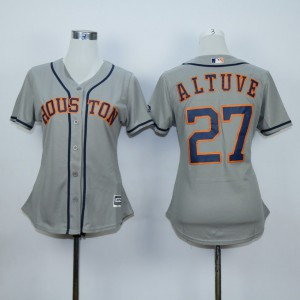 Women Houston Astros 27 Altuve Grey MLB Jerseys