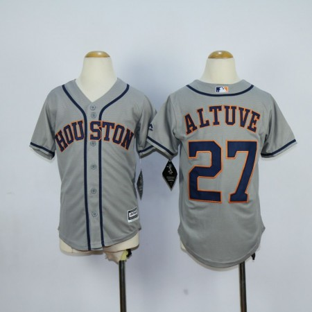 Youth Houston Astros 27 Altuve Grey MLB Jerseys