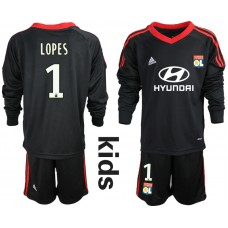 2018_2019 Club Olympique Lyonnais black long sleeve Youth goalkeeper 1 soccer jerseys