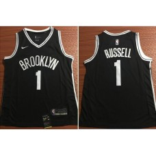 Men Brooklyn Nets 1 Russell Black Nike Game Stitched NBA Jersey