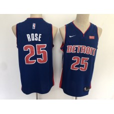 Men Detroit Pistons 25 Rose Blue Nike Game NBA Jerseys