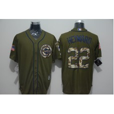 2016 MLB Chicago Cubs 22 Jason Heyward Green Salute to Service Stitched Baseball Jersey