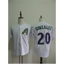 2016 MLB FLEXBASE Arizona Diamondback 20 Gonzalez stripe White Jerseys