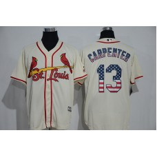 2016 MLB St. Louis Cardinals 13 Carpenter White USA Flag Fashion Jerseys