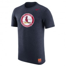 2016 MLB St. Louis Cardinals Nike Cooperstown Retro Logo Tri-Blend T-Shirt - Navy