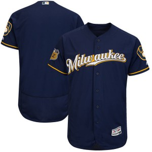 2017 MLB Milwaukee Brewers Blank Blue Jerseys