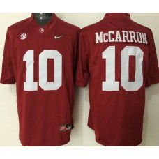 2016 NCAA Alabama Crimson Tide 10 McCarron red jerseys