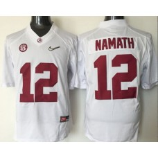 2016 NCAA Alabama Crimson Tide 12 Namath white jerseys