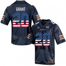 2016 US Flag Fashion Men Under Armour Corey Grant 20 Auburn Tigers College Football Jersey  Navy Blue