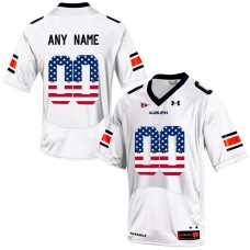 2016 US Flag Fashion Men Under Armour Customized Auburn Tigers College Football Jersey  White