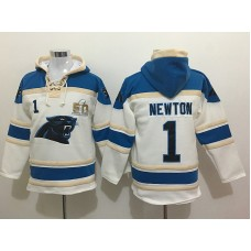 2016 New Nike Carolina Panthers 1 Newton white Pullover Hooded Sweatshirt with super bowl 50th patch
