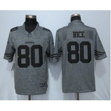 2016 San Francisco 49ers 80 Rice Gray Men's Stitched Gridiron Gray Nike Limited Jersey
