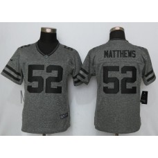 2016 Women New Nike Green Bay Packers 52 Matthews Gray Stitched Gridiron Gray Limited Jersey