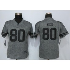 2016 Women Nike San Francisco 49ers 80 Rice Gray Stitched Gridiron Gray Limited Jersey