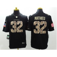 Arizona Cardicals 32 Mathieu Nike Black Salute TO Service Jerseys