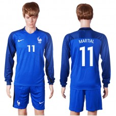 2016 European Cup France home long sleeve 11 Martial Blue Soccer Jersey