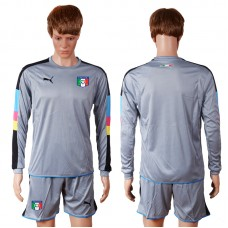 2016 European Cup Italy grayness goalkeeper long sleeves Blank Grey Soccer Jersey