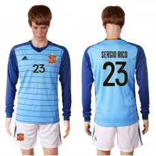 2016 European Cup Spain blue goalkeeper long sleeves 23 SERGIO RICO Soccer Jersey