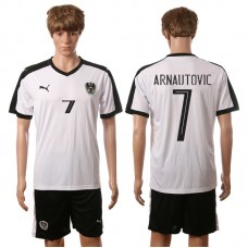 European Cup 2016 Austria away 7 Arnautovic white soccer jerseys