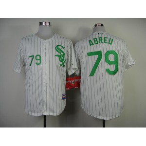 Chicago White Sox #79 Abreu White Black Pinstripe Jersey